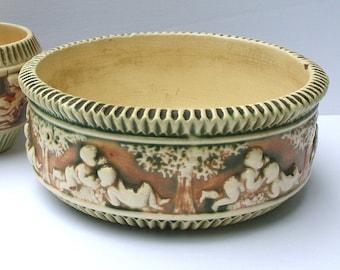 Antique Roseville Pottery Bowl, Roseville Donatello Planter, Ohio Pottery, Large Roseville Pottery Bowl