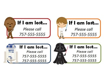 Set of 8+ Custom Temporary Tattoos - Emergency Contact Info / If Lost - Star Wars characters