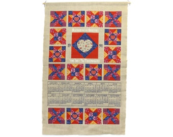 1992 Linen Tea Towel Calendar - Quilters Piecemakers - Kitchen Wall Calendar Towel