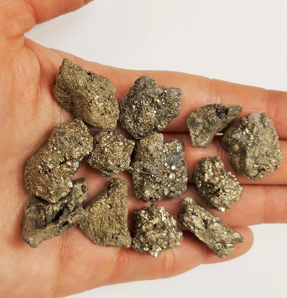 Semi Precious Gemstone Raw Stone : Small golden pyrite stones raw natural jewelry