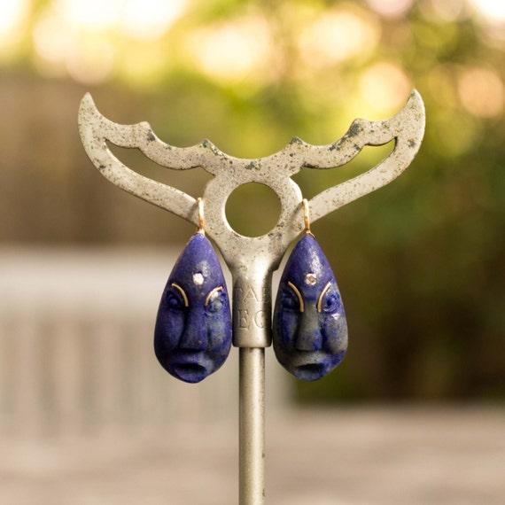 18kt Lapis Diamond Face Earrings