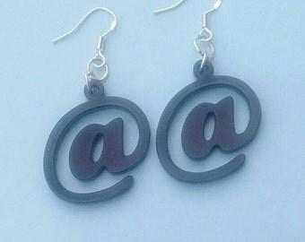 Black 'At' @ Earrings, Laser Cut Acrylic Jewellery