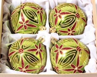 Exclusive set hand blown Czech Bohemian hand decorated Christmas glass bauble decorations ornaments