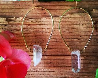 Horseshoe Quartz Dangle Earrings