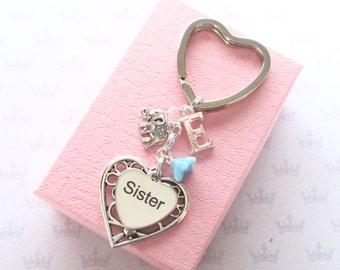 Sister keychain - Personalised Sister keyring - Sister Birthday gift - Elephant keychain - Custom Sister gift - Initial keyring - UK