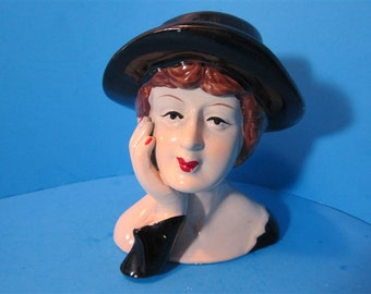 Vintage  Style Lady Bust Head Vase Style Figurine Collectible Collector Girl