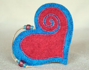 Beaded Pink and Blue Wool Felt Heart Ornament #3, Mother's Day Heart, Wedding Favor, Proposal Idea, Anniversary Gift *Ready to ship