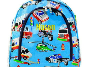 Personalized Fire Truck Backpack Monogrammed Bookbag Helicopter Ambulance Police Car Boys Girls Kids School Bag Embroidered Monogram Name