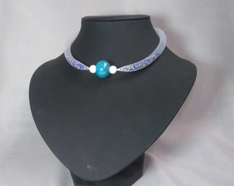 Necklace white FishNet, white and ceramic glass beads turquoise