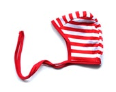 Bonnet, Red and White Stripe with red trim , Knit reversible bonnet, pilot cap