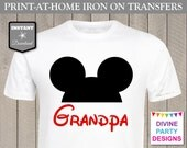 INSTANT DOWNLOAD Print at Home Red Mouse Ears Grandpa Printable Iron On Transfer / T-shirt / Family / Trip / Birthday Party / Item #2361