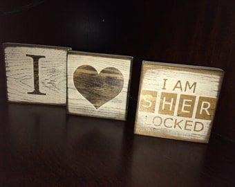 Peace Love & Sherlock Holmes - I am SHER LOCKED   Desk/Shelf Decor Blocks / Sign