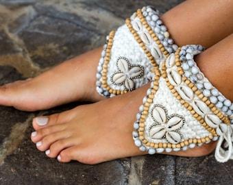 Cowrie Shells and crochet handmade cuff - handmade boho cuff sandal