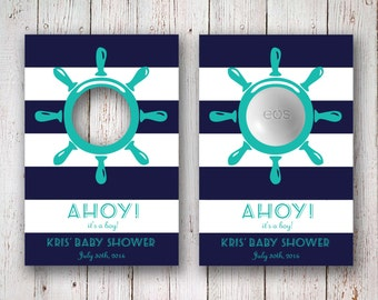 AHOY! It's a boy! - Personalized Nautical EOS Party Favor Tags - Customizable Baby Shower Favors -