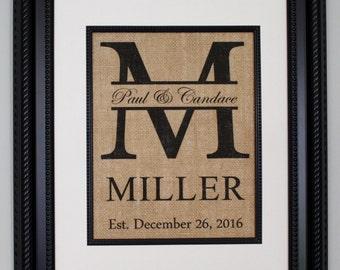 Personalized Burlap Print, Wedding Gift, Anniversary Gift, Engagement Gift, Split Monogram, Burlap Sign with Family Name