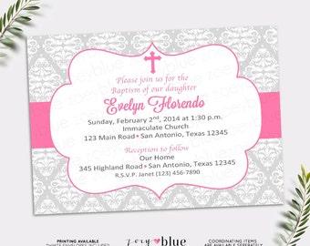 Girl Baptism Invitation Pink First Communion Christening Invite/ Confirmation Invitation Pink Damask Digital File