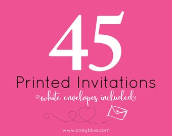 45 Professionally Printed Cards (5x7/4x6) with White Envelopes