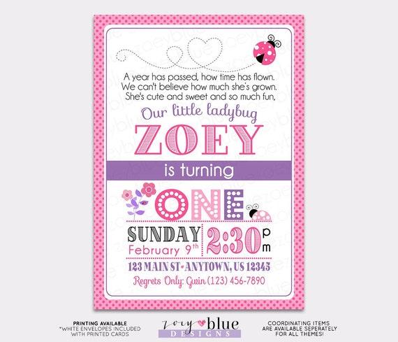 Pink Purple Ladybug Birthday Invitation 1st Birthday Ladybug – Ladybug Photo Invitations 1st Birthday