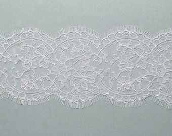 French Chantilly lace  trim - Alice  - ivory or white - sold per half yard.