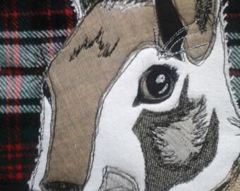 Patchwork Appliqued Hare/Rabbit Cushion