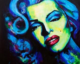 Customer PORTRAIT Fine ART Painting Acrylic On Canvas Modern textured  by Anna Bulka