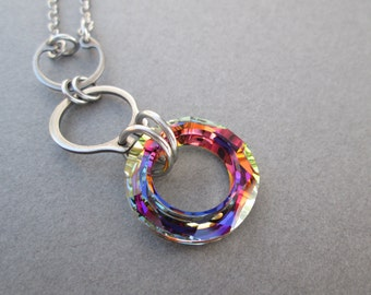 Industrial Chic Necklace, Hardware Jewelry, Crystal Pendant, Stainless Steel Necklace, Drop Pendant Necklace, Rainbow Crystal Necklace