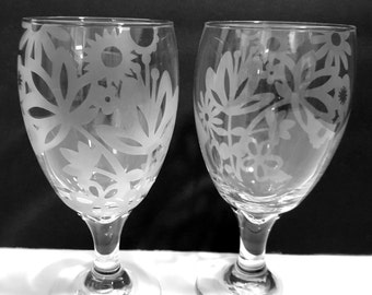 Etched drinking glasses, floral home decor, water glasses.