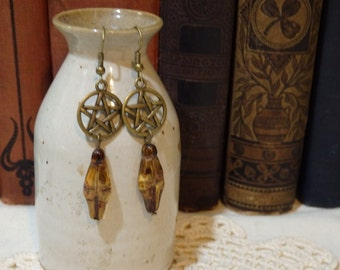 Amber Czech Glass Venus of Willendorf Fertility Goddess Earrings with Pentagram