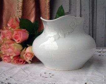 Antique french white ironstone pitcher. White washing pitcher. Gustavian decor. White ironstone. Shabby chic white