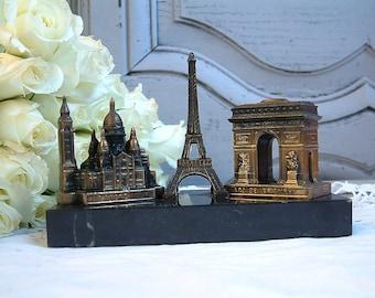 French vintage Paris souvenir. Eiffel tower, L'arc de Triomphe, Sacré Coeur cathedral. French mid century. Vintage Paris souvenir