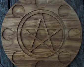 Wiccan Pentagram Tealight Holder. Oak. Halloween