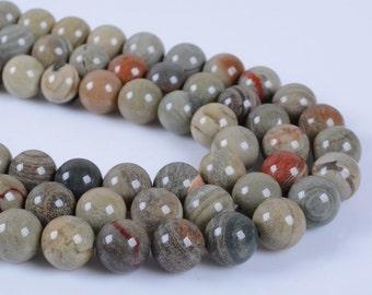 "8MM126 Sliver leaf jasper round ball loose gemstone beads 16"""
