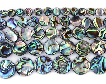 """6mm to 18mm New Zealand Abalone shell flat coin disc loose beads 16"""""""
