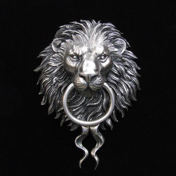Nickel plated bronze lion head door knocker - Lion face door knocker ...