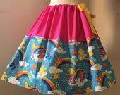 Rainbow Care Bears Skirt, Adjustable Waist, All Sizes, Plus Size, RARE RARE Out of Print Fabric! FAST shipping