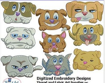 Embroidery Design CD - Chubby Puppies(1) - 9 Designs - 9 Formats - Threadart