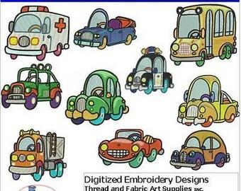 Embroidery Design CD - Cartoon Autos(1) - 10 Designs - 9 Formats - Threadart