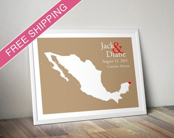 Custom Wedding Gift : Personalized Wedding Location and Country Map Print - Mexico - Engagement Gift, Wedding Guest Book