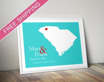Custom Wedding Gift : Personalized Wedding Location and State Map Print - South Carolina - Engagement Gift, Wedding Guest Book