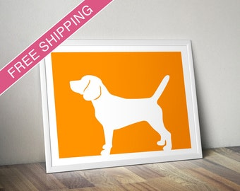 Beagle Print (version 2) -  Beagle Silhouette, beagle art, dog portrait, dog wall art, modern dog home decor