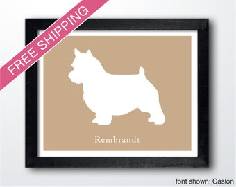 Personalized Norwich Terrier Silhouette Print with Custom Name - Norwich Terrier art, dog portrait, modern dog home decor