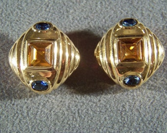 Vintage Yellow Gold Tone multi shape color Rhinestone clip on earrings W    **RL