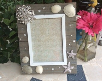 Beach Picture Frame, Handmade Picture Frame, Wedding Frame, Gift Ideas, Custom Picture Frame, Handmade Picture Frame