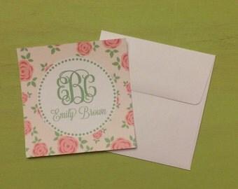 Monogrammed floral enclosure cards