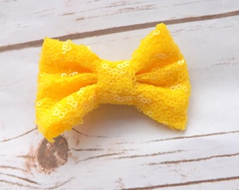 Bright yellow sequin bow hair clip, girls pink hair bow, summer bow hair accessory, girls yellow bow clip, UK seller