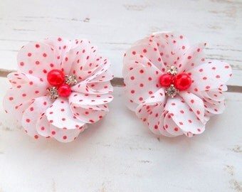 White and red spot chiffon flower hair clips. flower girl hair clips, bridesmaid hair accessories, white chiffon flowers, UK seller