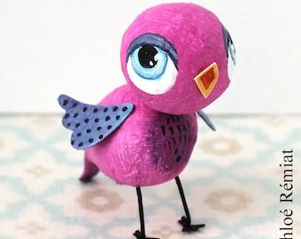 Mini bird Fuchsia and purple
