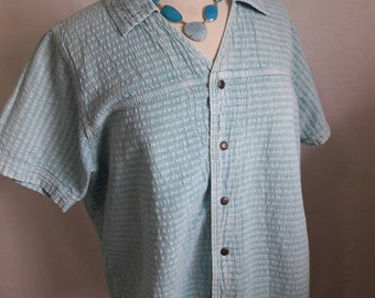 80's Light Blue Button Down  Collared Shirt Women's Vintage  Clothing