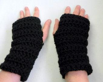 Fingerless Gloves Black Fingerless Gloves Black Crocheted Fingerless Gloves Black Chunky Yarn Fingerless Gloves