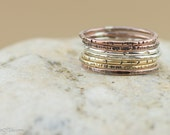 Stacking rings, mixed metal, sterling silver, copper, jewelers brass, various textures, set of 7, nickel free